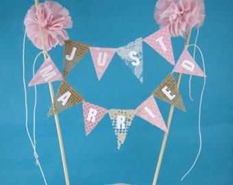 "Cake banner topper, wedding, Burlap and Pink  ""Just Married"" Banner  E261 - shabby chic cake banner wedding"