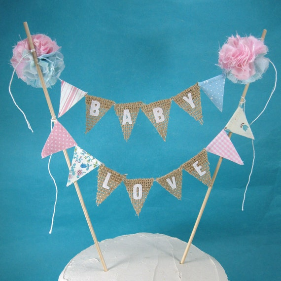 Burlap Cake topper gender reveal baby shower Baby