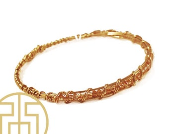 Champagne Wire Wrapped Crystal Bracelet, H13-42