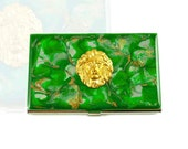 Business Card Case Lion Inlaid in Hand Painted Metal Wallet Emerald Quartz Inspired Credit Card Holder Enamel Glossy Finish
