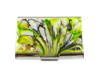 Large Metal Card Case Hand Painted Metal Wallet Personalized Chartreues Quartz Inspired Custom Colors and Personalized Options