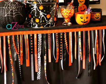 Halloween Party, Ribbon Garland, Jack-o-lantern, Halloween Carnival, Spooky, Pumpkin Patch, Orange Party, Fall Festival, Halloween Ribbon