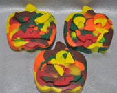 Pumpkin Shaped Recycled Crayons / Total of 3.  Boy or Girl Kids Unique Party Favors, Crayons.