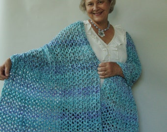 Crochet Shawl, Aqua Shawl, Shawls and Wraps, Evening Shawl, Gift for Her, Women's Gift, Wraps Shawls, Hand Crocheted