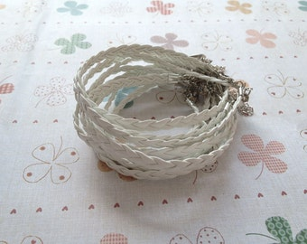20pcs 5mm 7 inch white braided leather  bracelet with lobster clasp and 2 inch extension chain