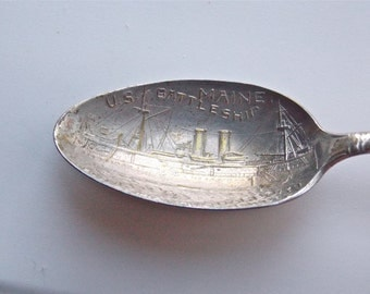 Silver Plate Souvenir Spoon Capitain Sigsbee Spainish American War Tarnished Flatware