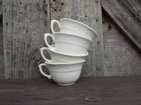 Vintage Cups Creamy White Pottery Set of 4