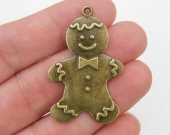 2 Huge gingerbread man pendants antique bronze tone BC134