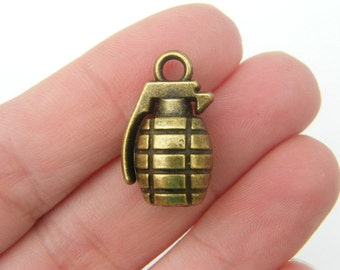 2 Hand grenade charms antique bronze tone BC95