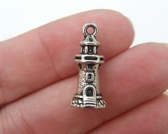 6 Lighthouse pendants antique silver tone SC51