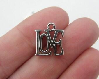 8 Love charms antique silver tone M564