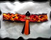 Handmade Black & Orange Harley Motorcyle Garter Toss~~SALE~~