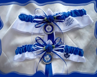 White and Blue Skinny Ribbon Bottlecap Garter Set made with Toronto Maple Leafs