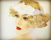 "White pearl crystal bridal flapper crown velvet flowers ""morning dove"""