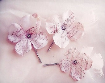 Blush hydrangea bobby pins bobbies how do I love thee
