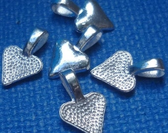 25pcs - bright silver plated - Heart Glue on Bails - 16mm