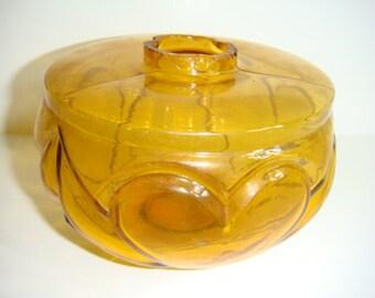 Amber Glass Oil Lamp Font Heart Design