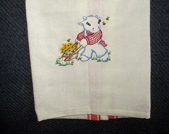 Machine embroidered towel - kitchen - off white with red striping - cow design
