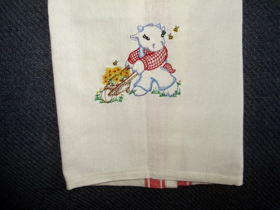 Machine Embroidered Towel Kitchen Off White With Red Striping