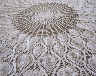 "40"" Doily White w leaves or strawberry images STUNNING"