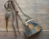 leather patchwork, purse necklace, patchwork leather, miniature purse, patchwork leather, feather necklace, miniature bag, autumn necklace