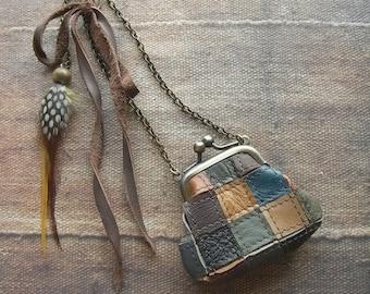 leather patchwork, purse necklace, patchwork leather, miniature purse, patchwork leather, feather necklace, miniature bag, autumn necklace