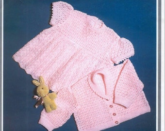 Baby download KNITTING PATTERN - Baby Dress and Jacket/Sweater/Cardigan Birth to 12 months