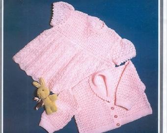BABY KNITTING PATTERN - Baby Dress and Jacket/Sweater/Cardigan Birth
