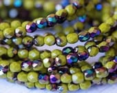 4mm Olive Fire Polished Czech Glass Beads - Bead Soup Beads - Green faceted Beads