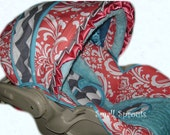 DeeLayna Coral Damask/Grey & White Chevron/Aqua Blue Minky Dot Infant Car Seat Cover 5 piece set