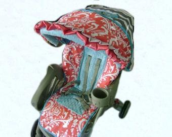 DeeLayna Coral Damask/Grey & White Chevron/Aqua Blue Minky Dot Stroller Cover