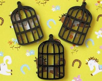 3 x laser cut acrylic Birdcage charms