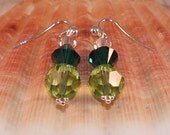 Sterling Silver Earrings With Peridot, Emerald Green and Clear Swarovski Crystals