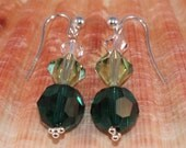 Sterling Silver Earrings With Emerald Green, Peridot and Clear Swarovski Crystals