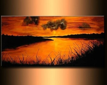 Original landscape Abstract painting, Contemporary Lake Sunset Fine Art  by Henry Parsinia 48x24