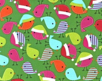 Jingle 2 by Ann Kelle and Robert Kaufman, Holiday Birds in Bright  1/2 yd total