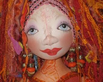 Rainbow Collection Soft Sculpture Doll - Orange - OOAK