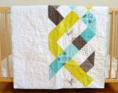 SALE 35% OFF Aqua and Lime Triple Helix Modern Baby Quilt