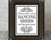 Dancing Shoes Sign. Tired Feet, 8 X 10 inches. Instant Download Wedding Card DIY Printable File. Wedding Sign, Reception Sign.