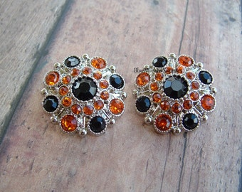 Set of 2 Black and Orange Rhinestone Buttons Halloween