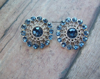 Set of 2 Navy Blue Rhinestone Pinwheel Buttons Free Shipping With 6 Or More Items