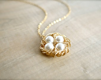 Birdnest Pendant - 4 Pearls Wrapped in Gold - Choose Your PEARL COLOR - mom, mother, grandmother, kids, children, Mother's Day