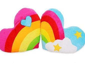 Rainbow Heart Plush Cushion
