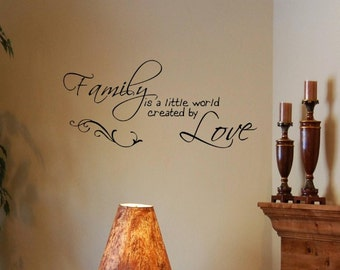 Family is a little world created by love -Vinyl Quote Me Wall Art Decals #0297