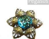 Teal Blue Filigree Flower Gem Medallion (3 Piece)(Selectable Color) Fantasy Jewelry necklace pendant, elven circlets, steampunk bracers