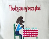teacher tote bag with hand painted artwork - The Dog Ate My Lesson Plan