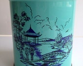 Vintage teal tin with Asian scene