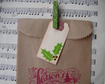 Christmas Treat Bag - Kraft with glitter clothespins and tag - Seasons Greetings bag