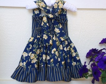 Girl's Navy and Yellow Dress, Floral and Stripes, Ruffles, Toddler, Baby Girl, Fall Winter Dress, Handmade by Hopscotch Avenue