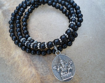 Mens Ganesha Necklace  Mala   Mens Mala Necklace  Mala Beads   Mens Yoga Jewelry  Ganesh Necklace  Mala  Black Ebony Mens  Yoga Necklace